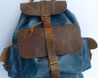 Leather Backpack Handmade Hand Stitched Bag For Men And Women