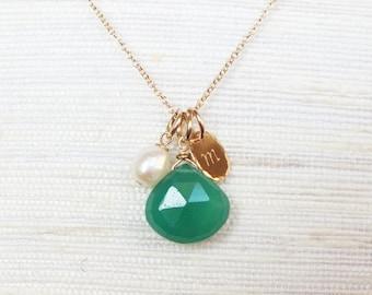 Personalized Birthstone Necklace - Infinity Necklace - Gold Filled Gemstone and Infinity Necklace -Wedding Jewelry