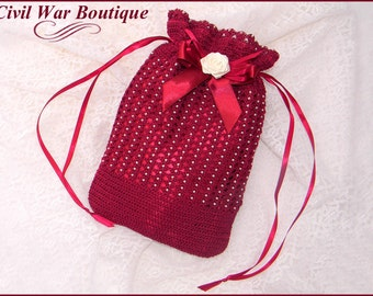 Civil War Victorian Burgundy Hand Crochet drawstring RETICULE PURSE with Pearls and Rose