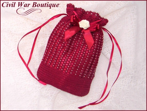 Victorian Wigs, Hand Fan, Purse, Gloves Accessories Civil War Victorian Burgundy Hand Crochet drawstring RETICULE PURSE with Pearls and Rose $64.50 AT vintagedancer.com