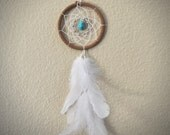 Dream Catcher for Car Mirror- Brown, White, and Turquoise Stone