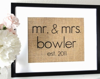 Modern Mr. and Mrs. Burlap Art, Gift for Weddings, Engagements, Showers, Announcement