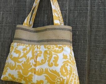 Yellow and White Damask Handbag Tote with Jute Webbing