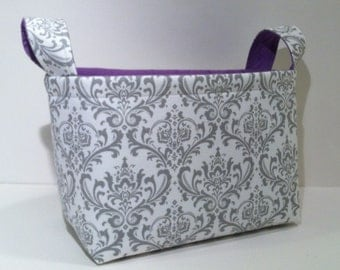 Fabric Storage Basket Bin Organizer Storage Container- Light Gray Damask Print with Solid Purple Interior