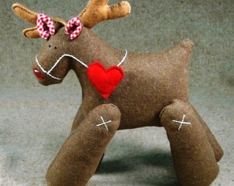 Christmas reindeer - stuffed animal toy - handmade gift idea for children