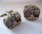 Silver Steampunk Cufflinks - KoollooK