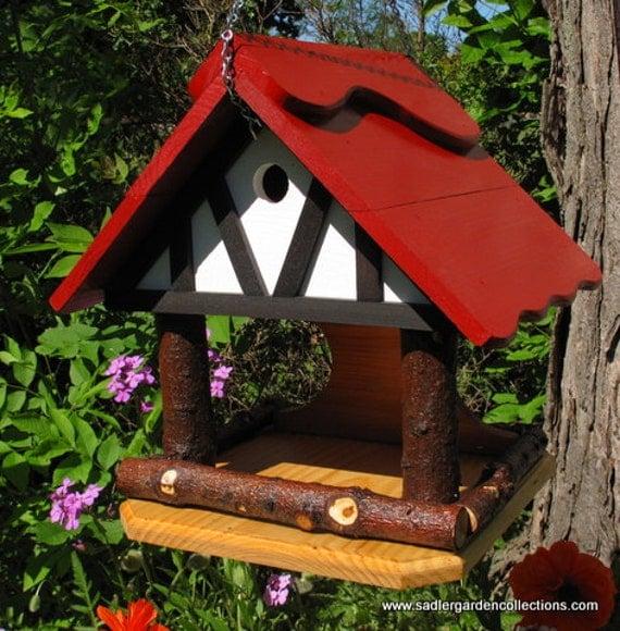 Outdoor Handcrafted Wooden Bird Feeder Bird House Combo