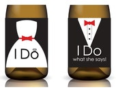 I Do & I Do What She Says ... Printable Wedding Wine Label Set in Red - Instant Download