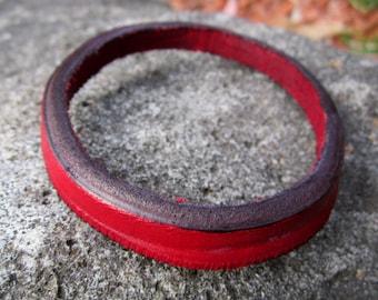 Bangle Bracelet SINGLE Red Leather upcycled jewlery