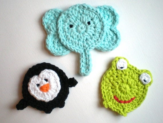 Crochet Patterns Zoo Animals : PATTERN: Three Animal Appliques, easy crochet PDF, zoo patch ...