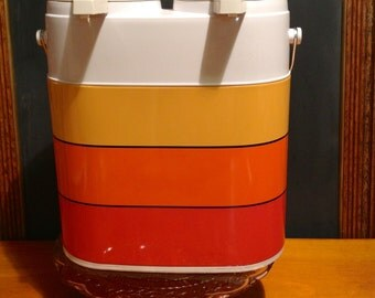 1970s Dual-Pump Thermos Dispenser with Vinyl Case, like new