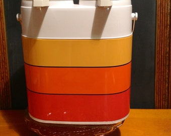 RESERVED: 1970s Dual-Pump Thermos Dispenser with Vinyl Case, like new