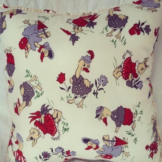 Mother goose nursery decor pillow vintage fabric rabbit for Retro nursery fabric