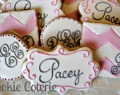 Monogrammed Baby Shower Wedding Bridal Shower Decorated Cookie Favors One Dozen