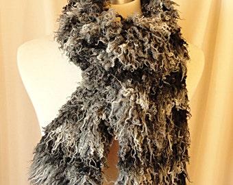 SALE - Long Faux Fur Scarf  - Curly Faux Fur in Black, White, Gray .