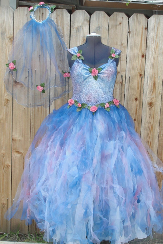 Sale Poofy Blue And Pink Fairy Dress With Matching Vail And