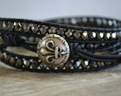 A gypsy's soul, hematite beaded, black leather triple wrap bracelet, Rustic Country, Gypsy,  Boho chic, bohemian