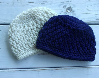 Crochet Baby Faux Cable Beanie Hat set of 2- cream and navy blue- Newborn to 12 months Made to order