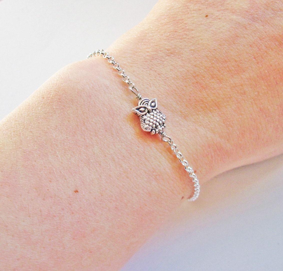 Owl Bracelet, Tiny Owl Bracelet, Owl Jewelry, Silver Owl Bracelet, Cute Owl