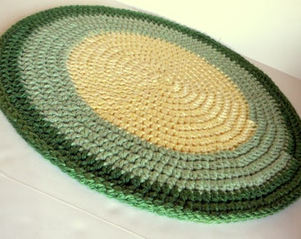 Crocheted Padded Cat Mat, Thick and Plush Area Rug, Pet Bed Round in Lemon Yellow, light Sage Green and Dark Sage/Limey Green Rim