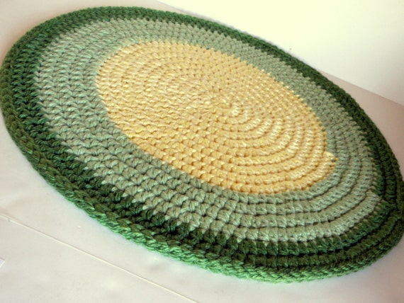 crochet rag rug thick and plush area rug pet bed round in lemon