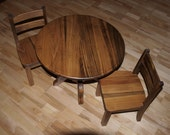 Round Pedestal Childrens Table & Chair Set With Provincial Stain and Clear Cote Finish