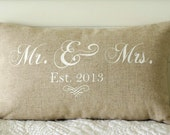 Mr. and Mrs. Pillow Cover, 12x20 lumbar, choice of black or vintage white writing or custom color, Established date
