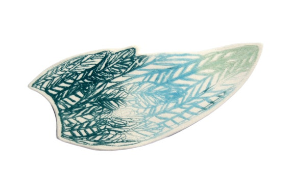 Screenprinted Porcelain Wing Brooch