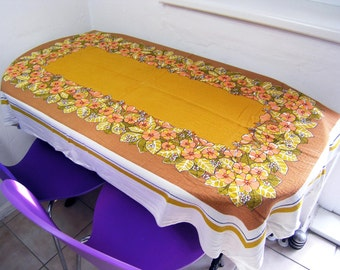 Vintage Tablecloth, Retro Floral Cotton Rectangular Tablecloth, Vintage Table Linens, Autumn Colors with Flowers