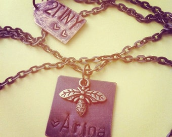 custom hand stamped charm necklace