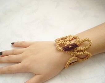 Golden Yellow crochet bracelet...Jewelry...