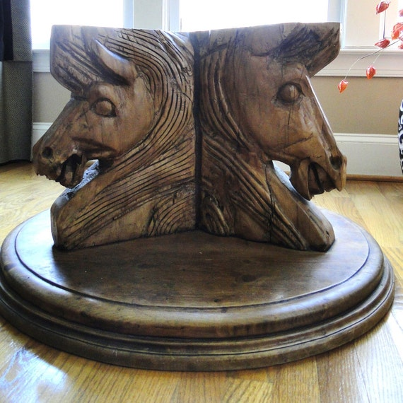 Vintage wood table hand carved horse head by belateddesigns