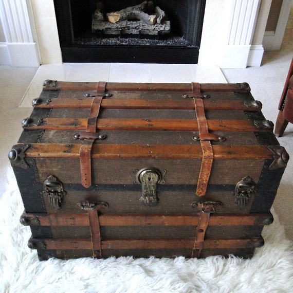 Antique Trunks As Coffee Tables: RESERVED FOR ERIC Large Antique Steamer Trunk Coffee Table