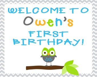 Gray Chevron Owl Welcome Sign -- 8x10 Print Your Own -- Birthday or Baby Shower
