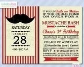 Mustache Birthday Invitations - Printed Invitations - Custom Invitations