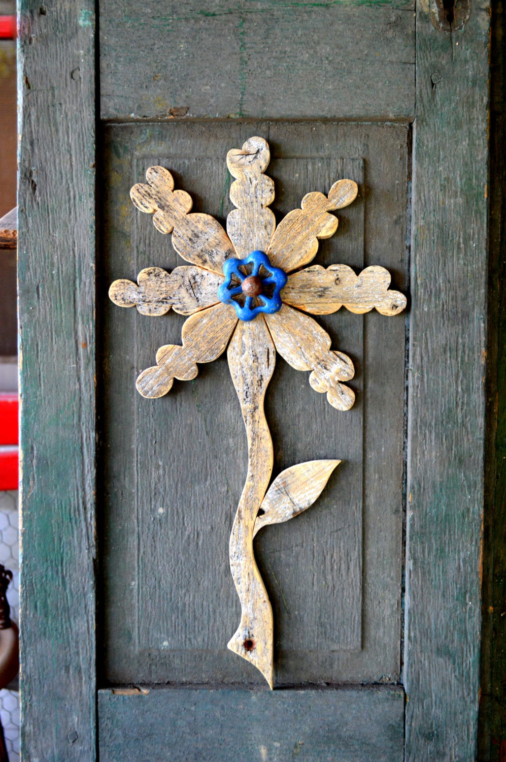 wood wall decor reclaimed wood flower rustic wall decor metal folk 31074