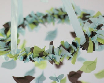 Boy Nursery Mobile- Blue, Brown, Green Birds- Nursery Mobile, Baby Shower Gift, Photographer Prop