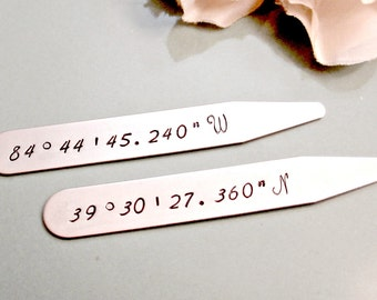 Hand Stamped Men's Collar Stays - Personalized Latitude Longitude - Custom Mens Anniversary Wedding Couples Coordinates Gift for Him