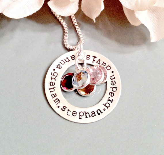 Personalized Jewelry - Hand Stamped Mommy Necklace - Sterling Silver Circle of Love Name Necklace with Swarovski Crystal Birthstones