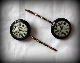 Handmade Polymer Clay Steampunk Clocks Antique Bronze Bobby Pins Set
