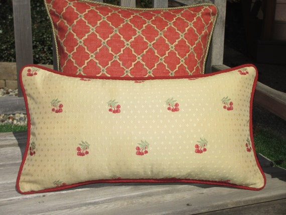 French Country Pillow Cover Cherries Decorative Throw Pillow