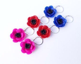 Hot Pink Red Blue  Anemone Flower Earrings, Anemone Earrings, Flower Earrings, Spring summer Earrings, Bridesmaid Earrings,