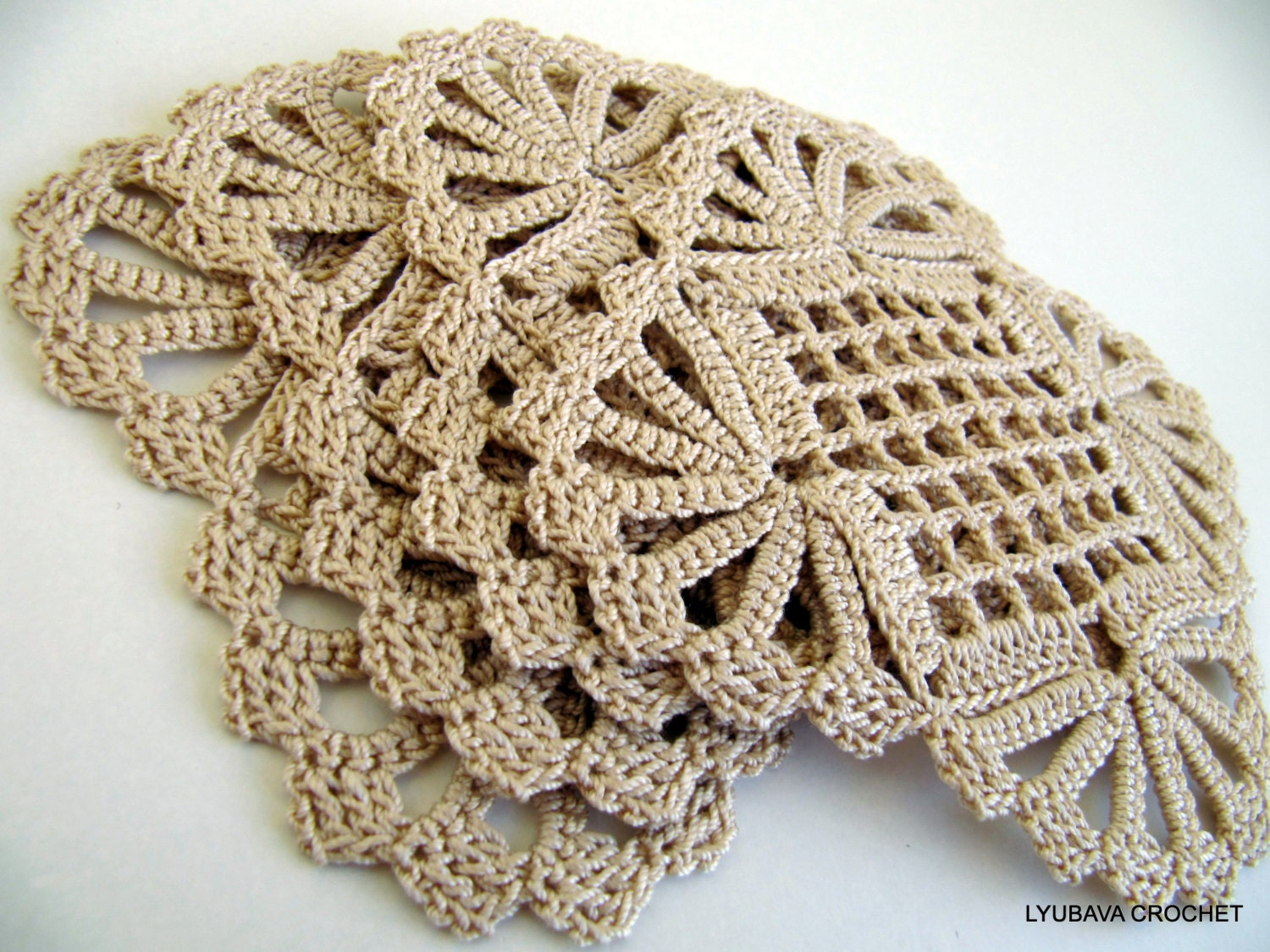 Crochet Patterns Coasters : CROCHET COASTER PATTERN Shabby Chic Decor by LyubavaCrochet