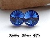12mm Sapphire Swarovski Rivoli Rhinestone Stud Earrings-Large Sapphire Crystal Studs-September Birthstone Studs-Birthstone Stud Earrings