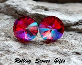 12mm Light Siam Glacier Blue Swarovski Special Effects Rivoli Rhinestone Stud Earrings-Large Special Effects Crystal Studs-Color Changing