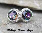 12mm Electra Silver swarovski surrounds Rhinestone stud earrings-Color Changing Electra Swarovski Crystal Surrouds Stud earrings