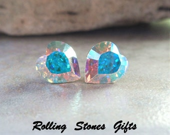 9mm Aurore Boreale Swarovski Heart Rhinestone Stud Earrings-Aurora Boreale Swarovski Crystal Heart Studs-Small Color Changing Heart Studs