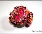 Bead embroidered cuff - Hot Pink