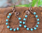 Antique copper earrings, wire wrapped jewelry handmade, turquoise earrings