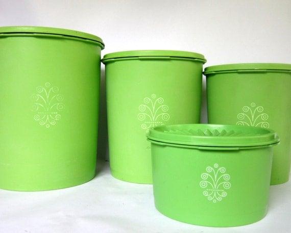 vintage lime green tupperware canister set of 4 swirl design